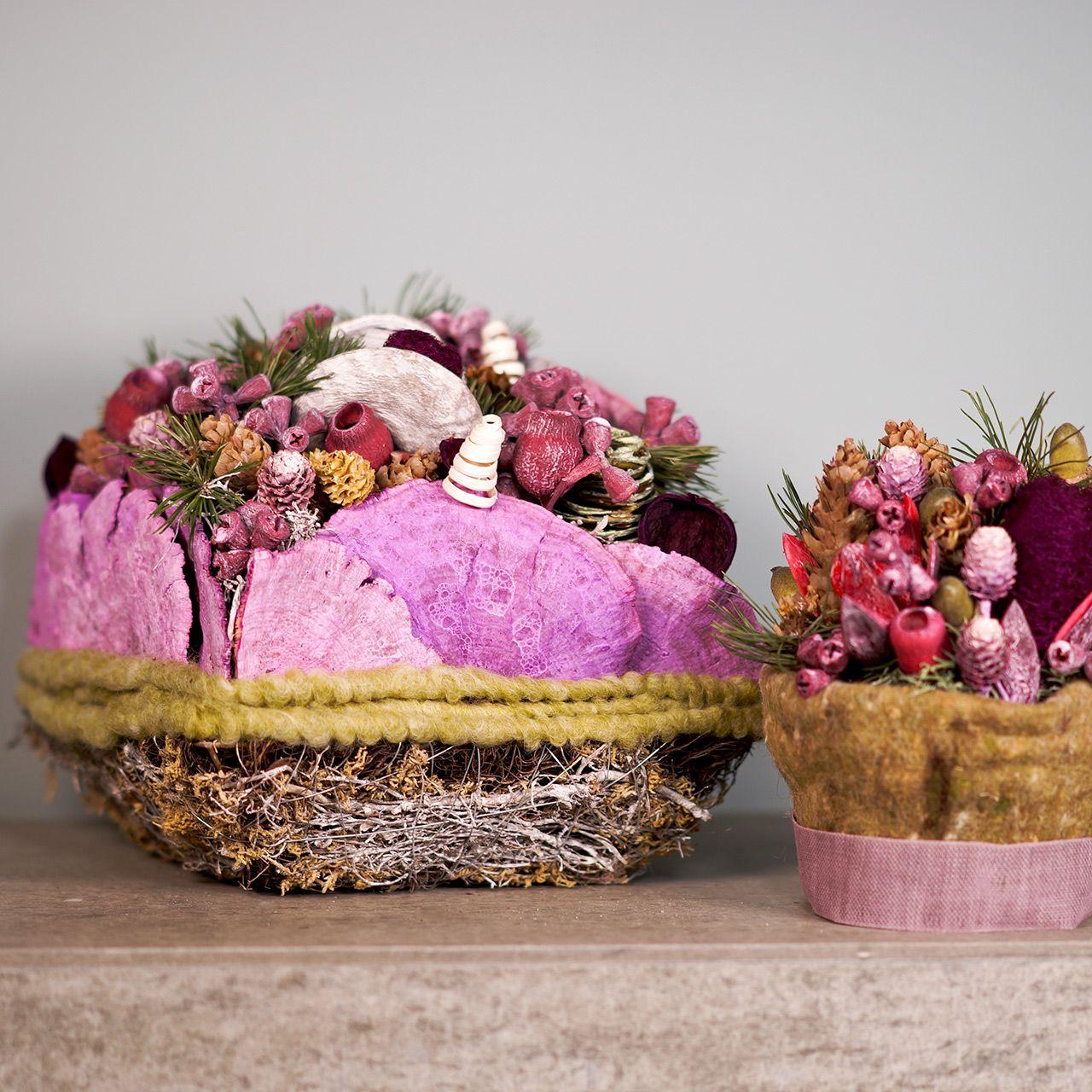 Plantepude lavet af vinstokke og mos 20 cm x 20 cm