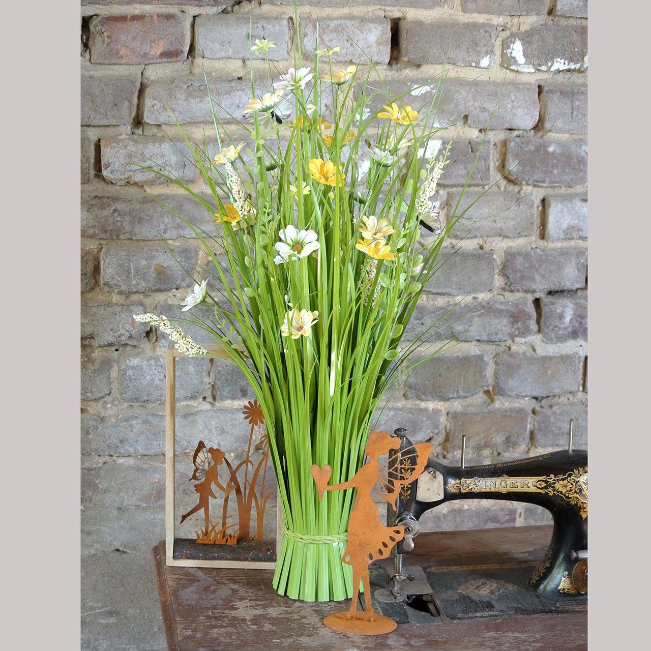 Flok græs med blomster og sommerfugle Orange 70cm