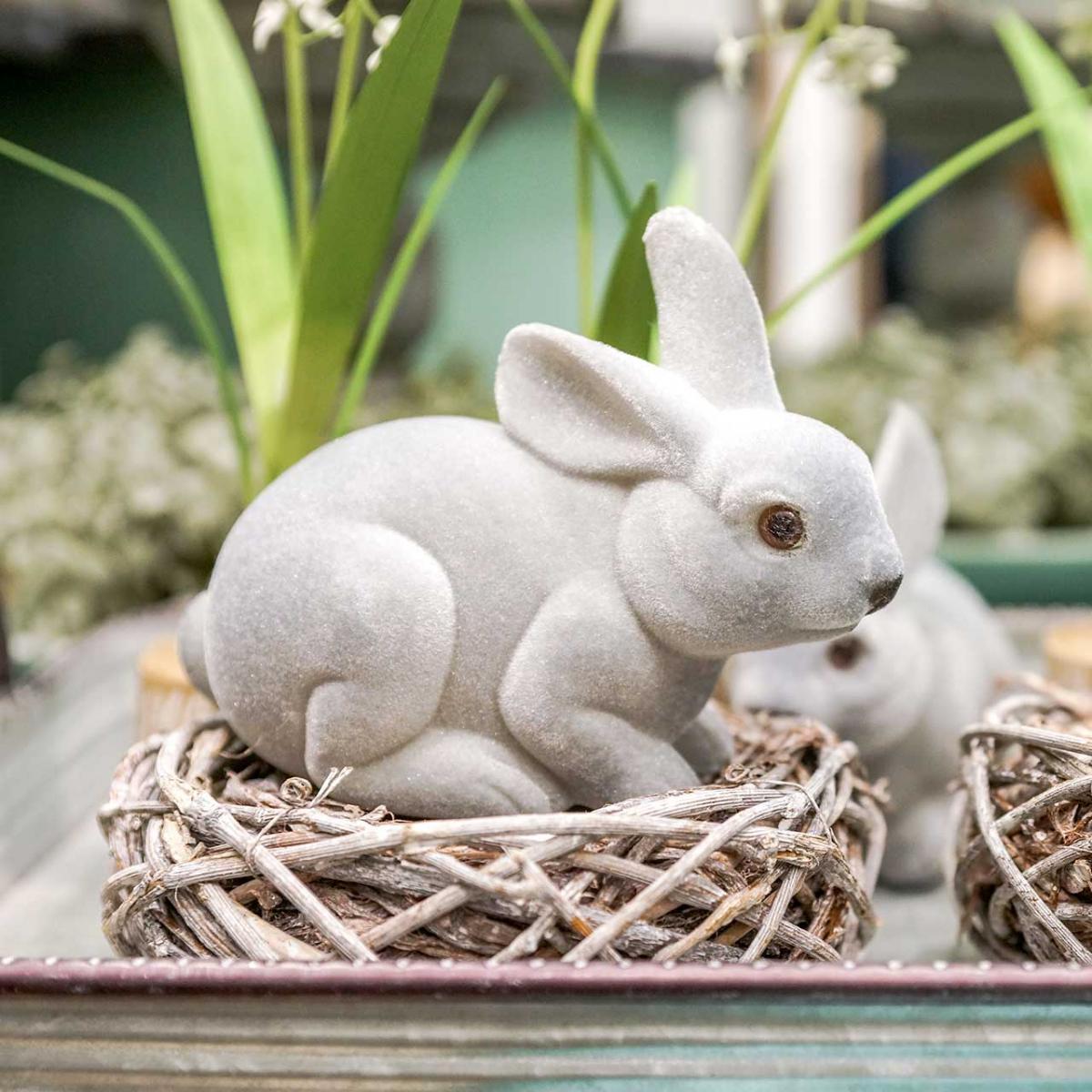 Dekorativ figur bunny grå, foråret dekoration, påske bunny sidder flokket 3stk