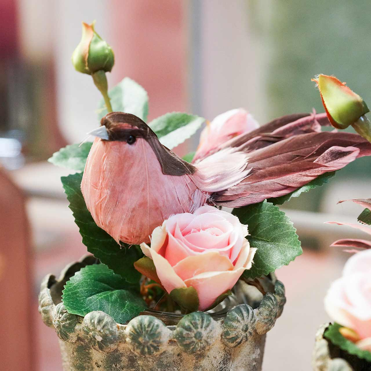 Fjerfugl på tråd lyserød 12cm 4stk