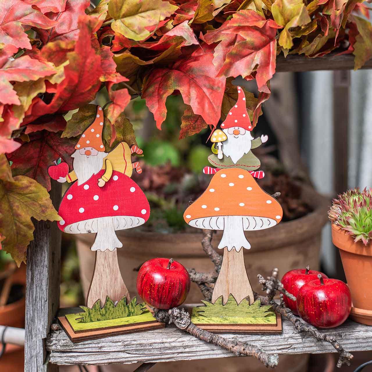 Fluesvamp til efterår, trædekoration, nisse på champignon orange / rød H21 / 19,5cm 4stk