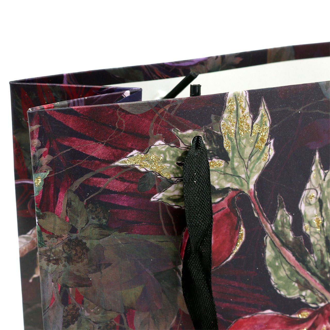 Gavepose blomster guld 18cm x 8cm H24cm