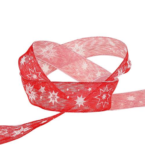 Julebånd rød med stjernemønster 25mm 20m