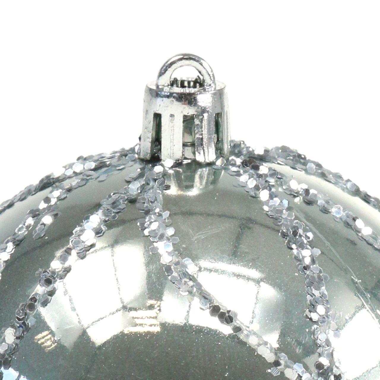 Julekugle plast sølv Ø8cm 2stk