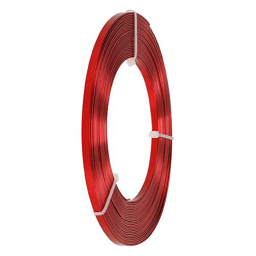 Flad tråd rød aluminium 5mm 10m