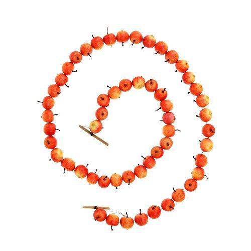Æblekrans lavet af 55 miniæbler gul-orange 113cm