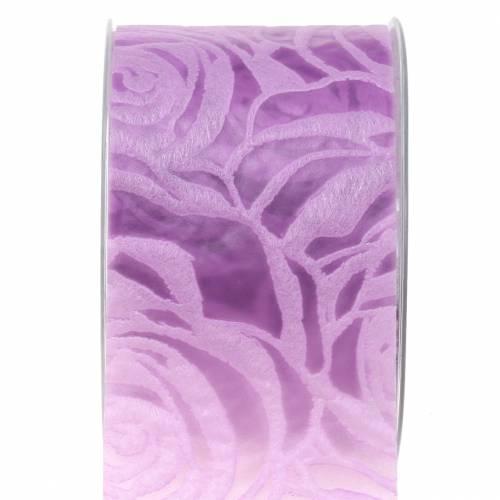 Dekorative bånd roser bred lilla 63mm 20m