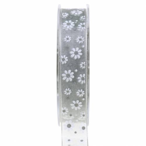 Organza bånd blomster grå 20mm 20m