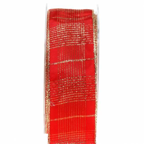 Kontroller båndet med trådkant rød, guld 40mm L20m