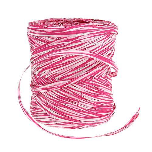 Bast som gavebånd lyserød-hvid 200m