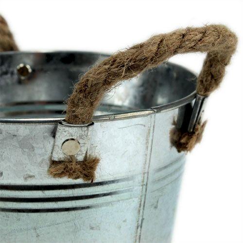 Tinnespand med rebhåndtag skinnende Ø18cm