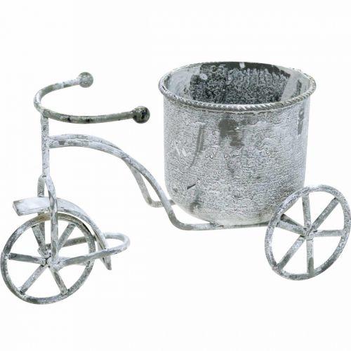 Urtepotte cykel metal vintage hvid vasket 24 × 13 × 14cm