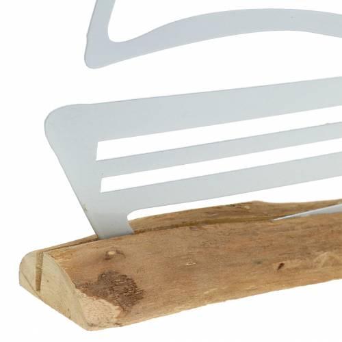 Boot på træfod af metal hvid 25cm H24.5cm