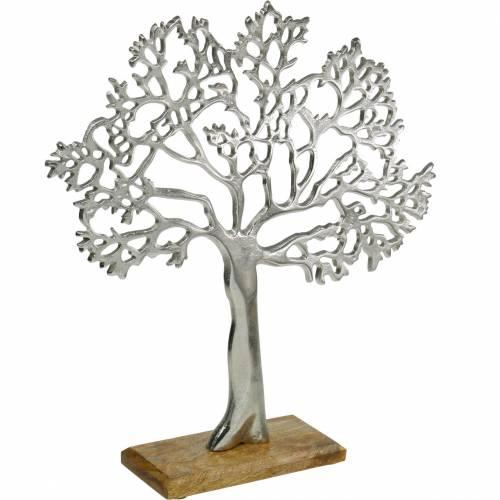Metaltræ, dekorativ bøg på træbund, dekoration i sølvmetal, livets træ, mangotræ