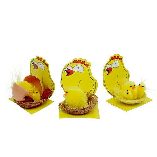 Chenille-kylling i en rede blanding Ø 5,5 cm 3stk