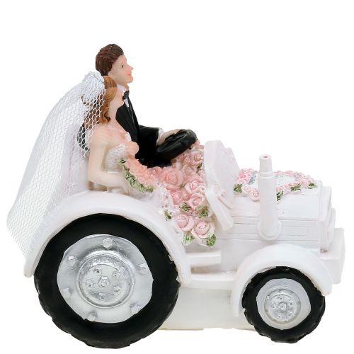 Dekorativ brud og brudgom på traktor H10cm
