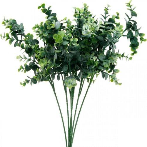 Dekorativ eukalyptus gren mørkegrøn Kunstig eukalyptus Kunstig grøn plante 6stk