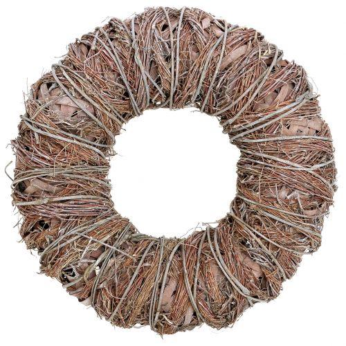 Dekorativ krans natur Ø43cm vasket hvid