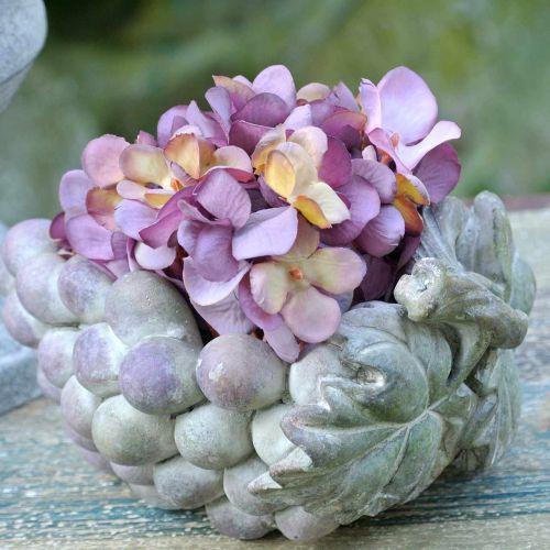 Dekorativ skål druer grå lilla creme 19 × 14cm H9,5cm