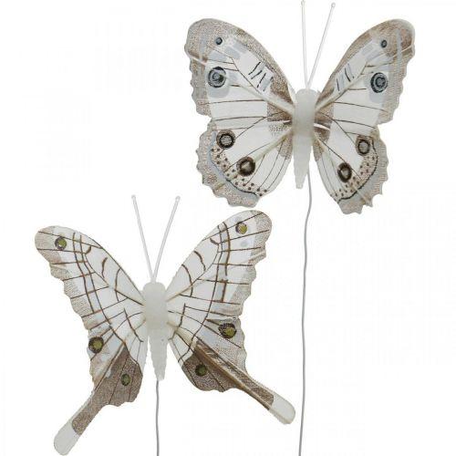 Dekorative sommerfugle hvid, brun fjer sommerfugl på tråd 7,5 cm 6stk