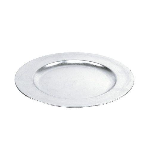 Dekorativ plade sølv Ø28cm