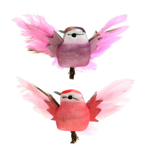 Dekorative fugle på klippet pink / lilla 9 cm 8stk