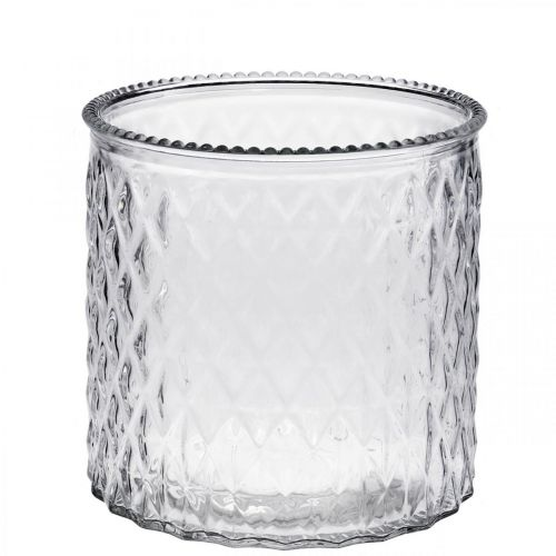 Dekorativt glasvindlys Ø12cm H12.5cm