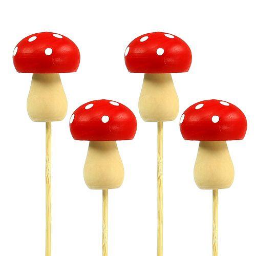 Dekorativ champignon paddepropsstikket rød 3,5 cm L30cm 12stk