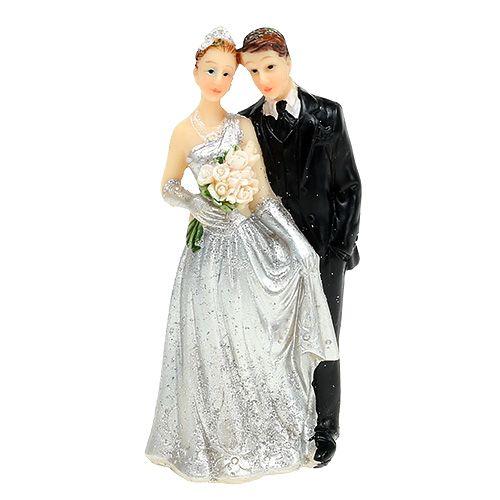 Deco sølv brudepar 10cm