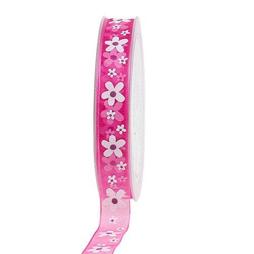 Dekorativt båndrosa med blomstermotiv 15mm 20m