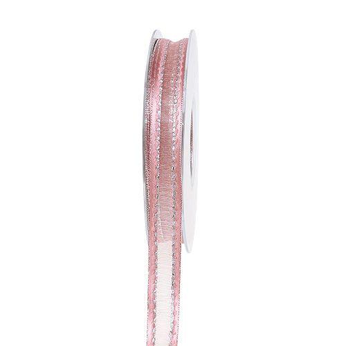 Dekorativt båndrosa med lurex-striber i sølv 15mm 20m