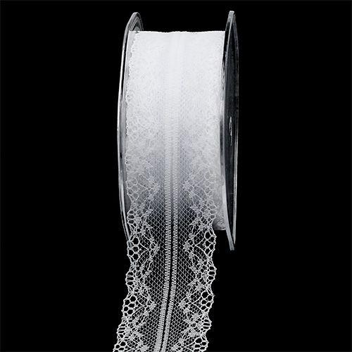 Dekorativ båndblonde hvid 40mm 20m