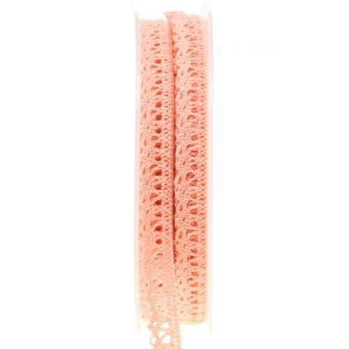 Dekorativt bånd hæklet blonder laks 12mm 20m