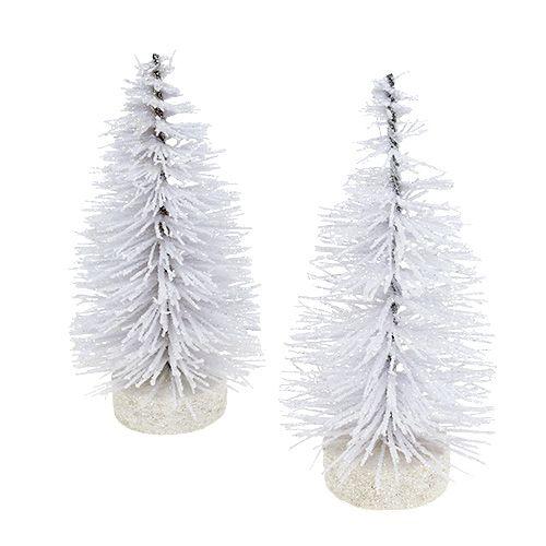 Dekorativt træ glitteret hvid H14cm 4stk