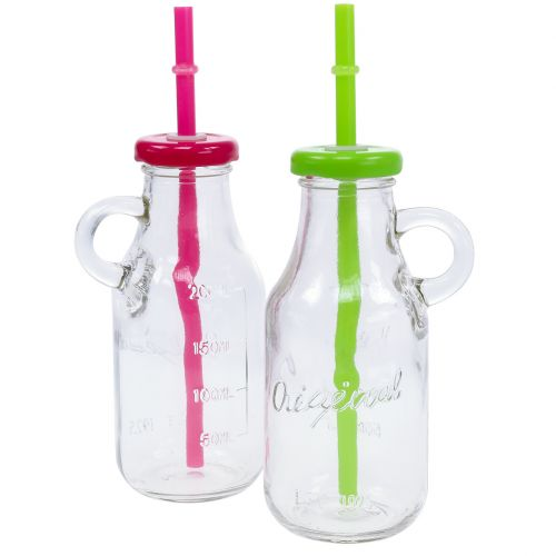 Dekorative flasker med låg og halm H14.5cm