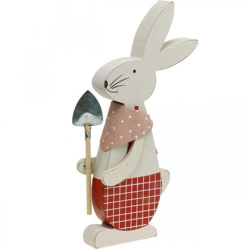 Dekorativ kanin med skovl, kanindreng, påskedekoration, trækanin, påskehare