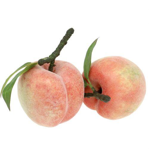 Dekorativ frugt fersken lyserød Ø8cm L10cm 4stk