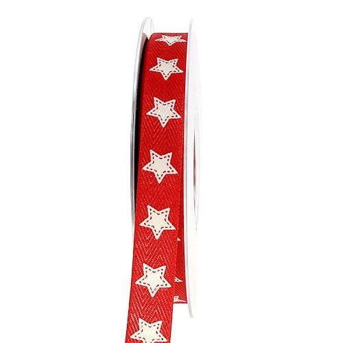 Dekorativt bånd med stjernemønster rød 15mm 20m