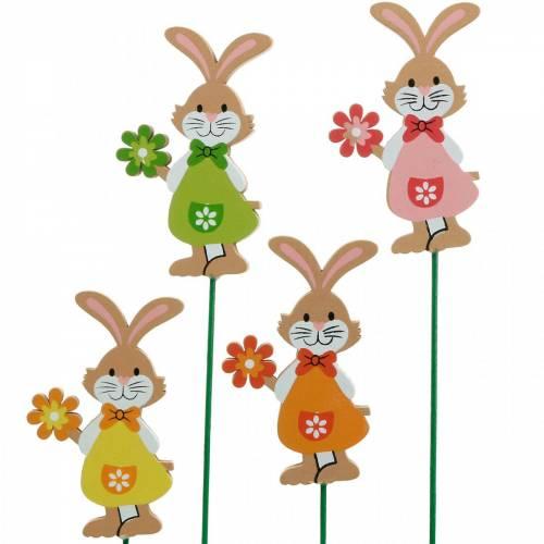 Dekorativ prop Påskehare med blomst Påskedekoration træ kaniner på en pind 24stk