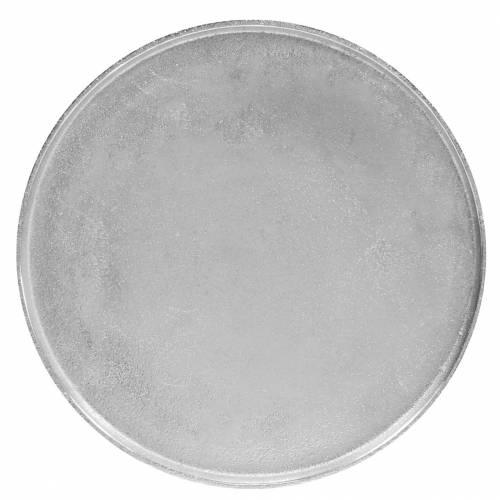 Dekorativ plade ler Ø31cm sølv
