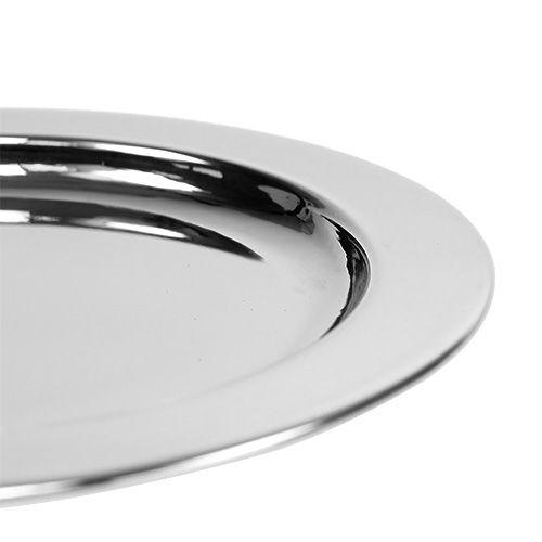 Dekorativ plade af metal Ø10,5 cm sølv