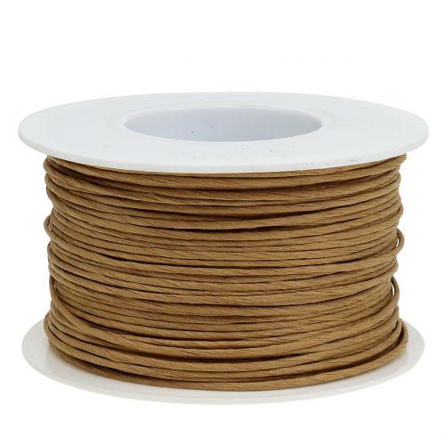Papirtråd, tråd indpakket i Ø2mm, 100m natur