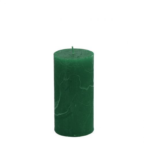 Ensfarvede stearinlys mørkegrøn 50x100mm 4stk
