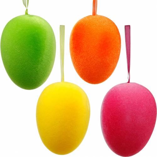 Påskeæg til ophængning af farverige, flokkede æg, påske, forårsdekoration 8stk