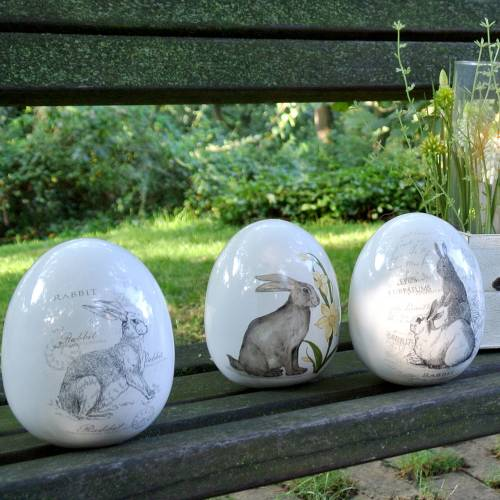 Æg keramikhvid med kaninmotiv Ø12,5cm H16cm 2stk