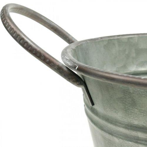 Planter kar, metalbeholder med håndtag, dekorativ skål L32cm H24cm
