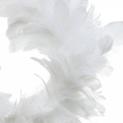 Hvid fjerkrans dekoration Ø25cm Påskedekoration Ægte fjer