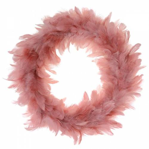 Dekorativ fjerkrans stor mørk pink påskedekoration Ø40cm