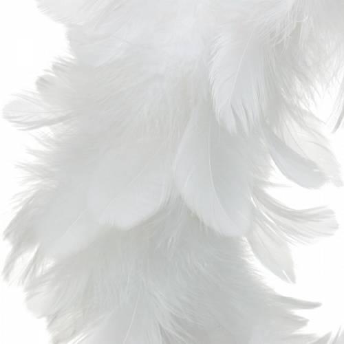 Påskedekoration forårskrans stor hvid Ø40cm Ægte fjer