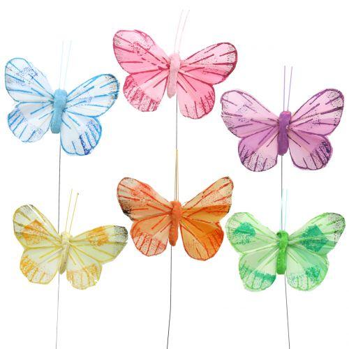 Fjer sommerfugl på trådfarvet 6 cm 12stk